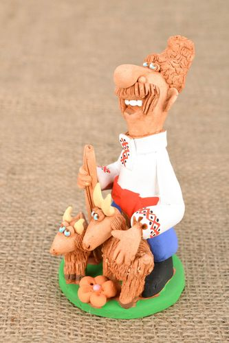 Clay figurines Cossack with Goats - MADEheart.com