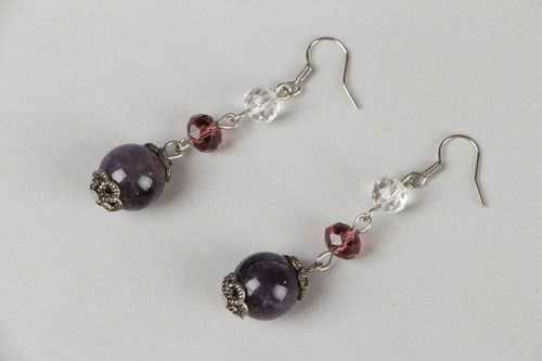 Long earrings with amethyst and glass - MADEheart.com