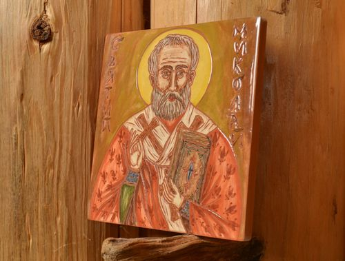 Handmade small decorative ceramic tile painted with engobes Saint Nickolas  - MADEheart.com
