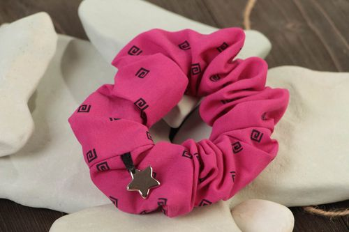 Handmade decorative bright pink fabric elastic hair tie with small charm star  - MADEheart.com