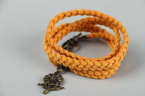 Suede braided bracelet with pendant - MADEheart.com