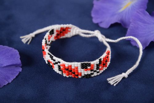 Handmade beaded bracelet accessory with ornament stylish designer jewelry - MADEheart.com