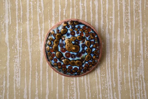 Handmade copper brooch with painting - MADEheart.com