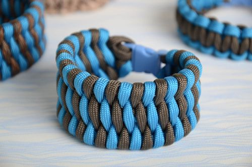 Handmade broad friendship wrist bracelet woven of blue and black paracords  - MADEheart.com