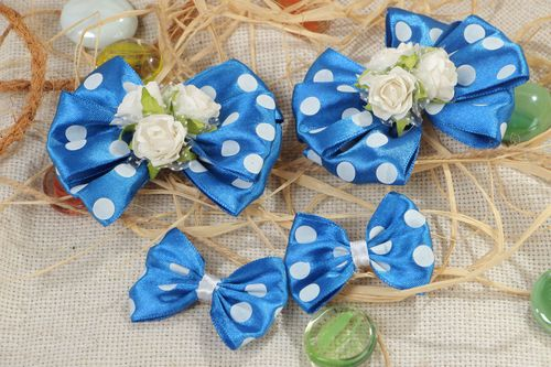 Handmade set of beautiful hair clips made of satin ribbons 4 pieces hair accessories - MADEheart.com