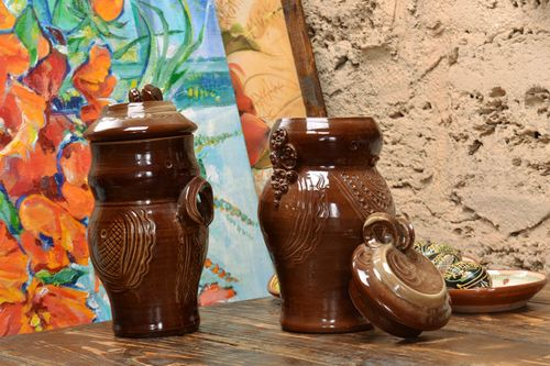 Set of 2 handmade decorative brown ceramic pots with lids coated with glaze - MADEheart.com