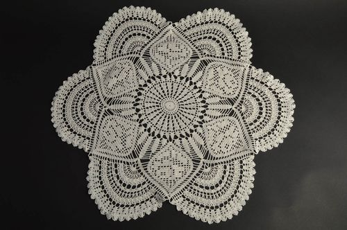 Beautiful exquisite handmade white crocheted decorative table doily - MADEheart.com