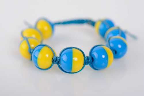 Handmade bracelet with plastic beads designer beautiful yellow and blue accessory - MADEheart.com