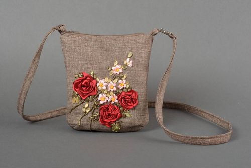 Brown handmade bag stylish textile bag women accessories bag with long handle - MADEheart.com