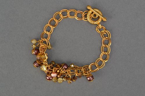 Beaded chain bracelet of gold color - MADEheart.com