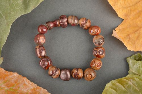 Handmade ceramic bracelet pottery works bead bracelet trendy jewelry ideas - MADEheart.com