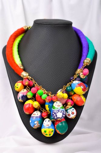 Handmade bright textile necklace unusual designer necklace elegant jewelry - MADEheart.com