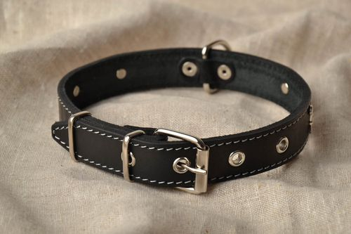 Black leather dog collar - MADEheart.com