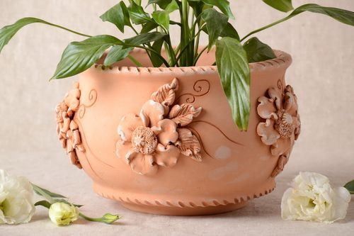 Handmade ceramic planter terracotta pots 2.5 l gifts for housewarming plant pot - MADEheart.com