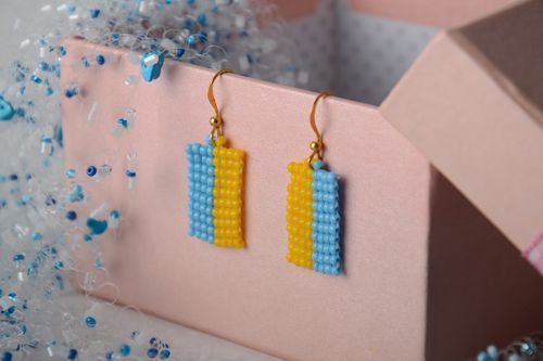 Handmade small bright beaded earrings with charms gift for daughter - MADEheart.com