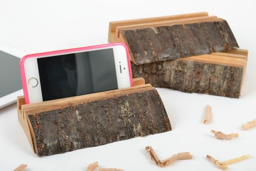 Set of 3 homemade designer wooden gadget holders for phones and tablets - MADEheart.com