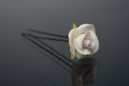 Cold porcelain hair pin White Rose - MADEheart.com