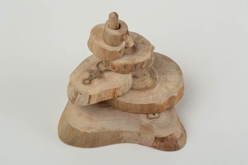 Handmade wooden eco toy pyramid souvenir for children developing designer toy - MADEheart.com
