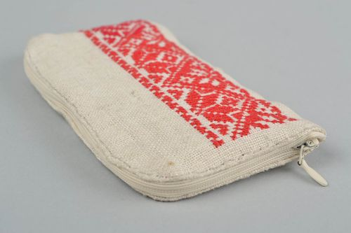 Handmade designer hemp fabric phone case with red cross stitch embroidery - MADEheart.com
