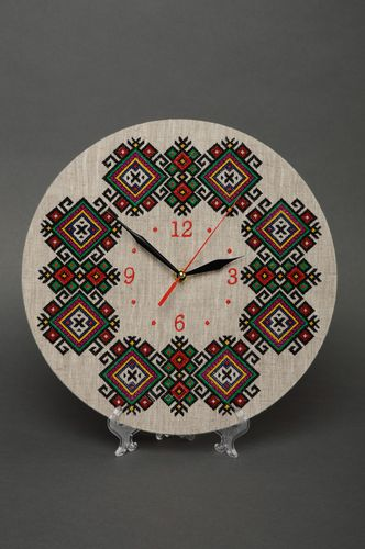 Handmade round wall clock with embroidery - MADEheart.com