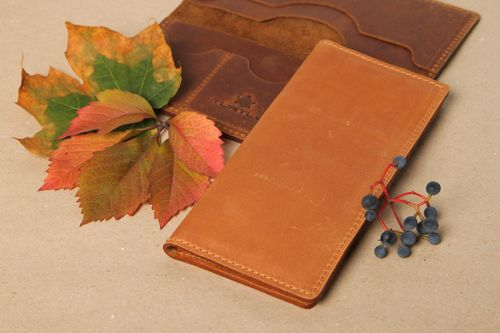 Handmade designer leather wallet unusual male purse stylish leather purse - MADEheart.com